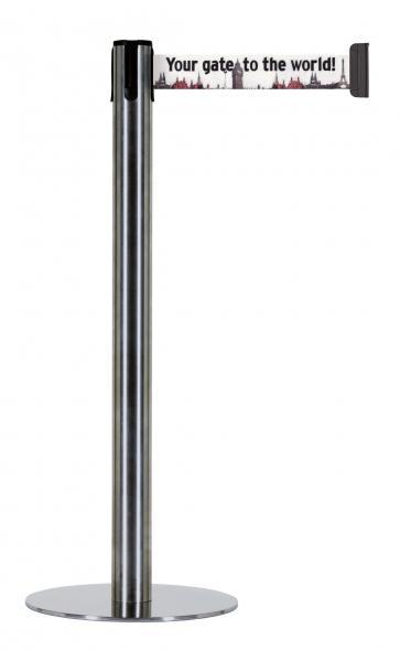 Beltrac Imprint Accent - Avsperringsstolpe med slank fot og eget trykk (2,3m)
