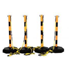 Avsperringspakke -Robust-, 4 stk Plaststolper inkl. 25m kjede (gul/svart)